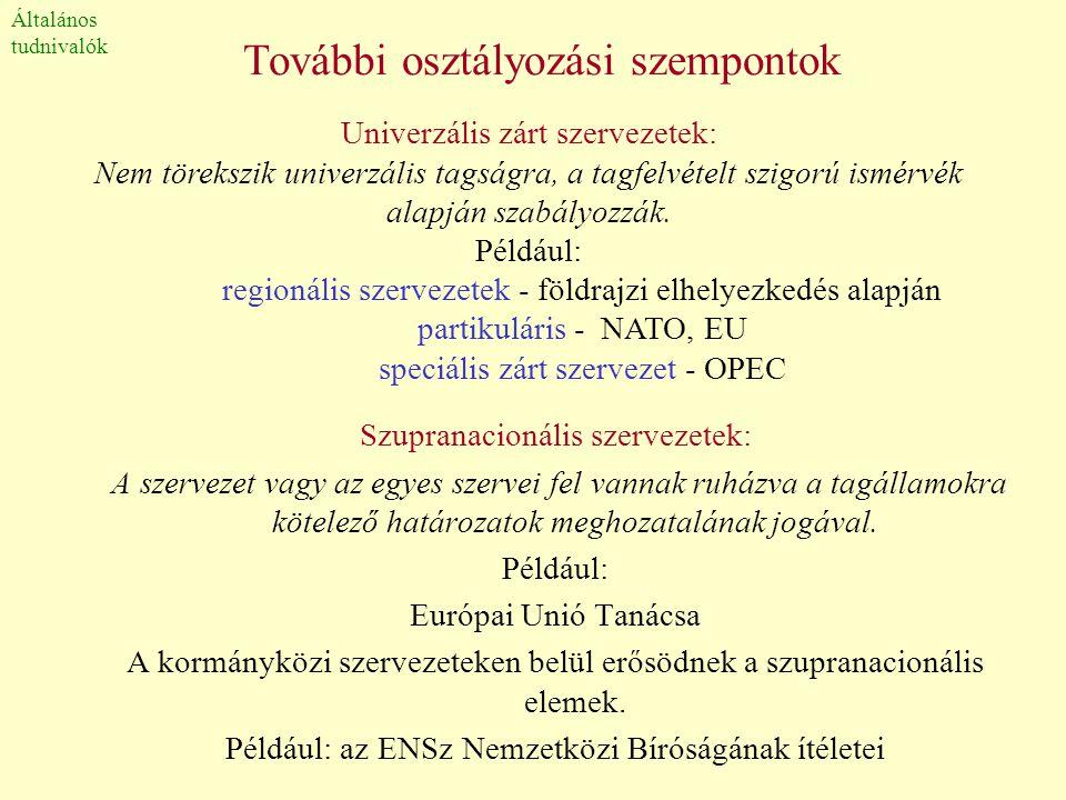 További osztályozási szempontok Szupranacionális szervezetek: A szervezet vagy az egyes szervei fel vannak ruházva a tagállamokra kötelező határozatok