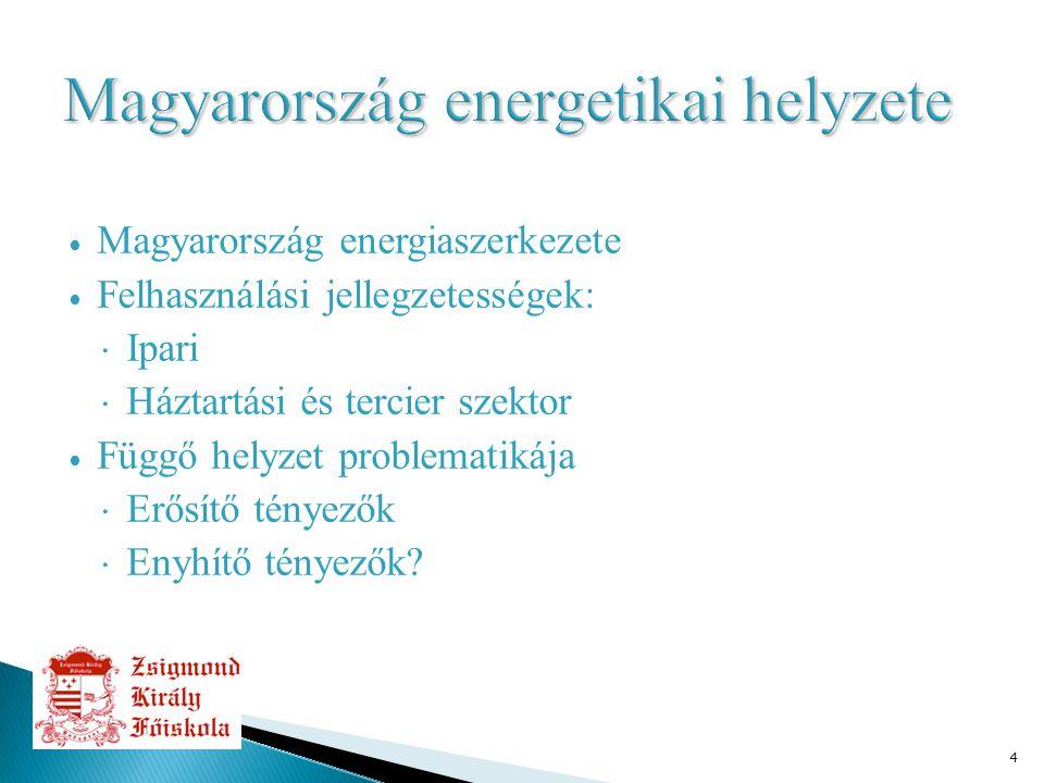 4 ∙ Magyarország energiaszerkezete ∙ Felhasználási jellegzetességek:  Ipari  Háztartási és tercier szektor ∙ Függő helyzet problematikája  Erősítő