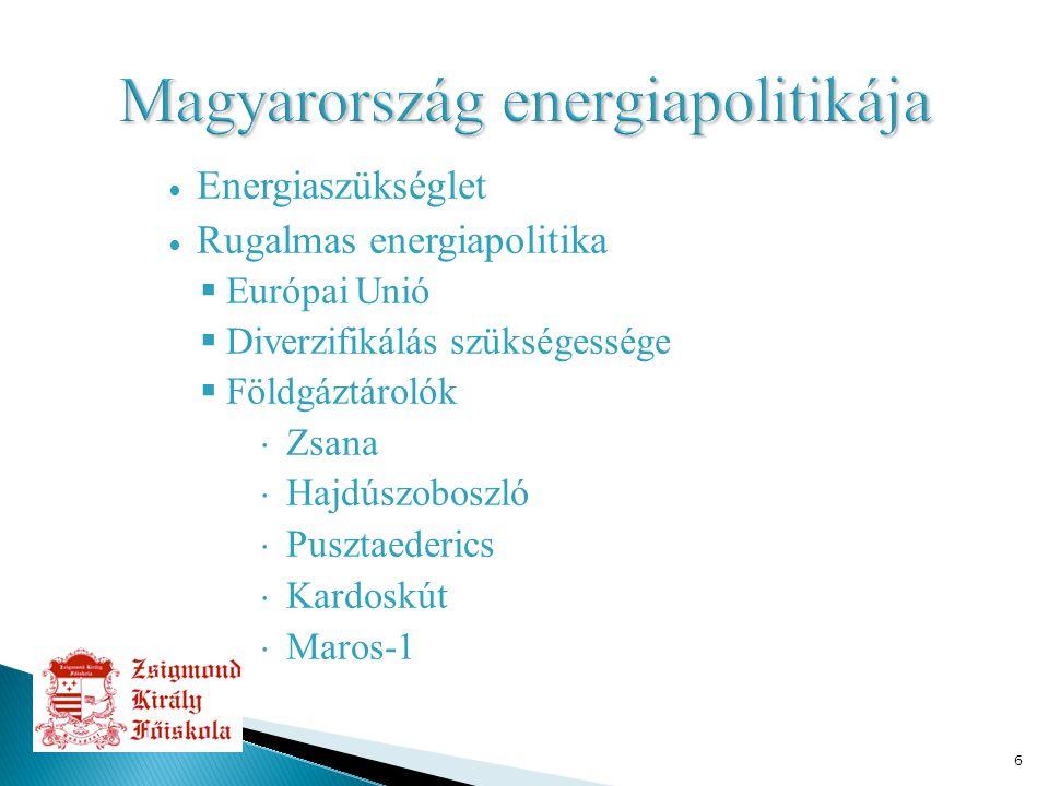 6 ∙ Energiaszükséglet ∙ Rugalmas energiapolitika  Európai Unió  Diverzifikálás szükségessége  Földgáztárolók  Zsana  Hajdúszoboszló  Pusztaederi