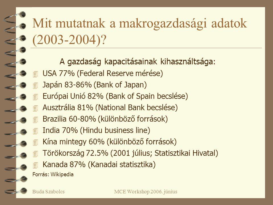 Buda SzabolcsMCE Workshop 2006. június Mit mutatnak a makrogazdasági adatok (2003-2004)? A gazdaság kapacitásainak kihasználtsága : 4 USA 77% (Federal
