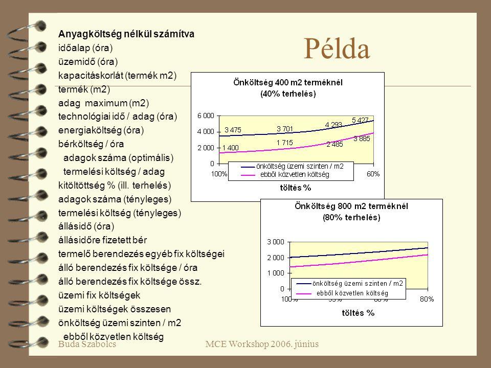 Buda SzabolcsMCE Workshop 2006. június Példa Anyagköltség nélkül számítva időalap (óra) üzemidő (óra) kapacitáskorlát (termék m2) termék (m2) adag max