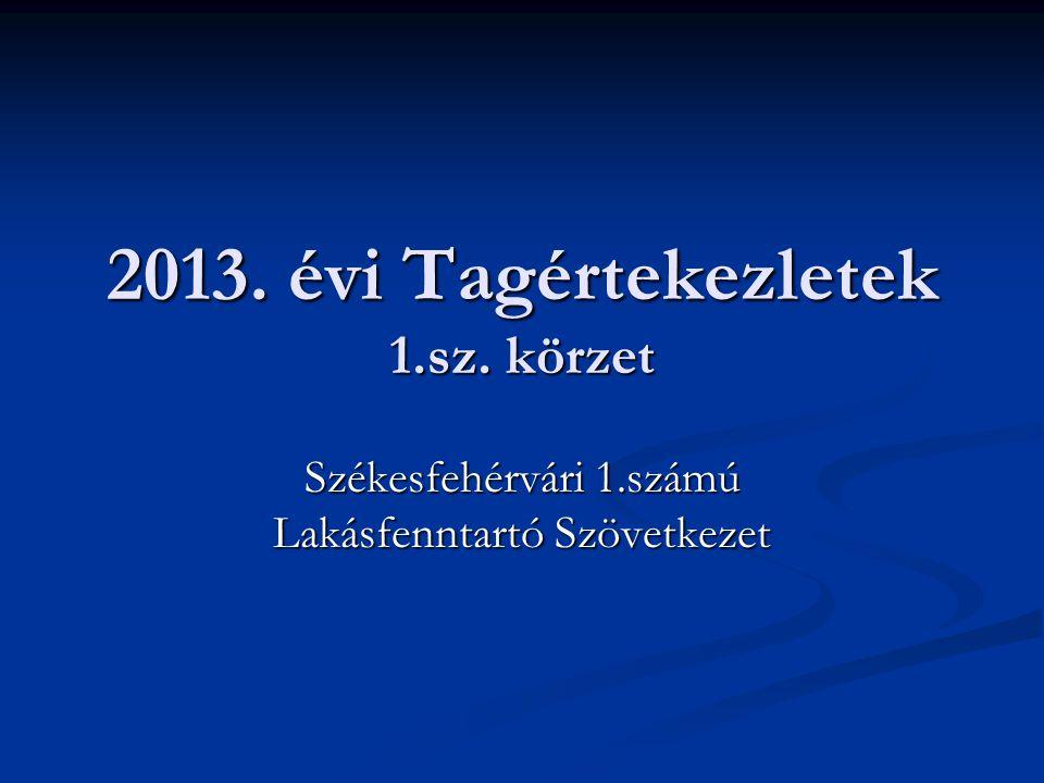 2013. évi Tagértekezletek 1.sz. körzet Székesfehérvári 1.számú Lakásfenntartó Szövetkezet
