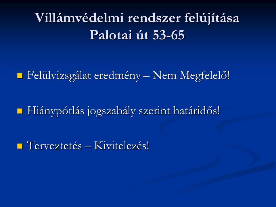 Villámvédelmi rendszer felújítása Palotai út 53-65  Felülvizsgálat eredmény – Nem Megfelelő.