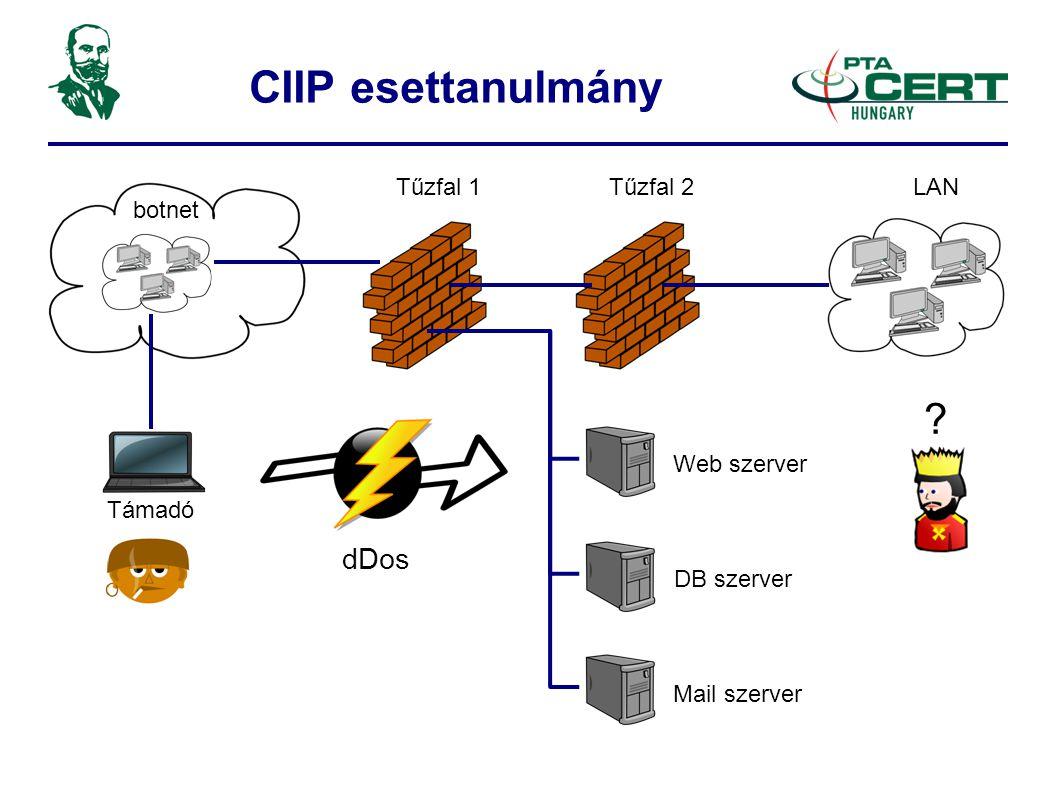 Web szerver DB szerver Mail szerver Támadó botnet Tűzfal 1Tűzfal 2LAN dDos
