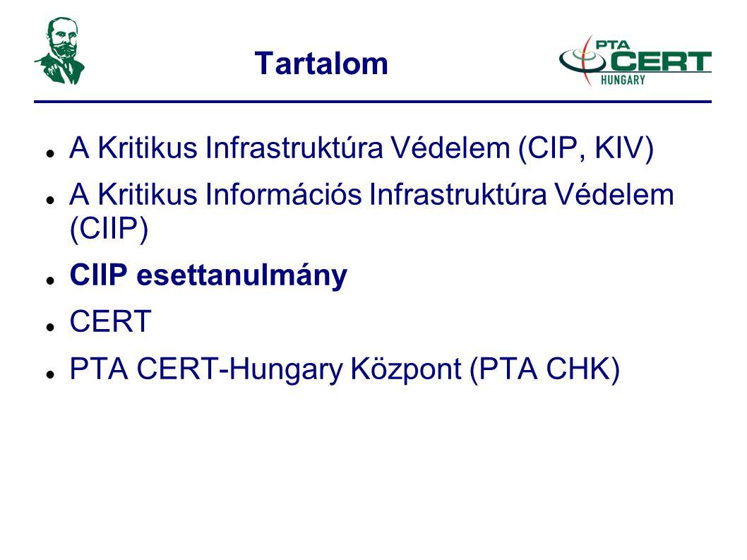 Tartalom  A Kritikus Infrastruktúra Védelem (CIP, KIV)  A Kritikus Információs Infrastruktúra Védelem (CIIP)  CIIP esettanulmány  CERT  PTA CERT-Hungary Központ (PTA CHK)