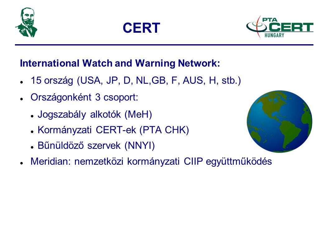 CERT International Watch and Warning Network:  15 ország (USA, JP, D, NL,GB, F, AUS, H, stb.)  Országonként 3 csoport:  Jogszabály alkotók (MeH)  Kormányzati CERT-ek (PTA CHK)  Bűnüldöző szervek (NNYI)  Meridian: nemzetközi kormányzati CIIP együttműködés