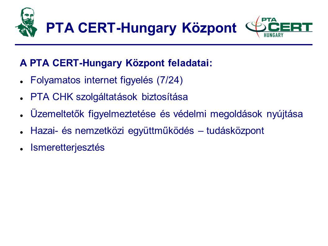 PTA CERT-Hungary Központ A PTA CERT-Hungary Központ feladatai:  Folyamatos internet figyelés (7/24)  PTA CHK szolgáltatások biztosítása  Üzemeltetők figyelmeztetése és védelmi megoldások nyújtása  Hazai- és nemzetközi együttműködés – tudásközpont  Ismeretterjesztés