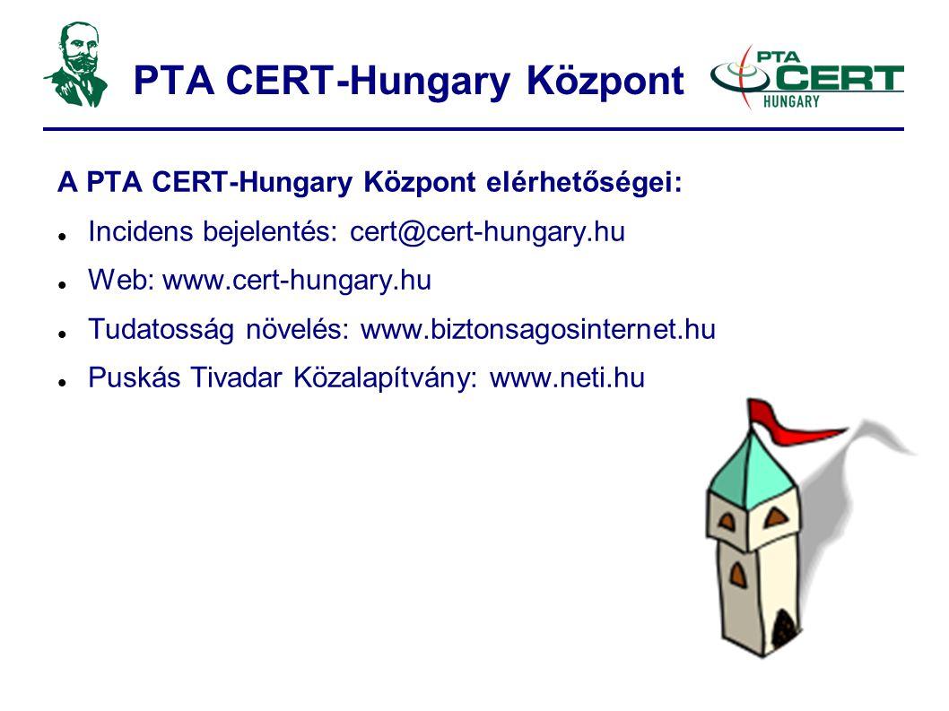 PTA CERT-Hungary Központ A PTA CERT-Hungary Központ elérhetőségei:  Incidens bejelentés: cert@cert-hungary.hu  Web: www.cert-hungary.hu  Tudatosság növelés: www.biztonsagosinternet.hu  Puskás Tivadar Közalapítvány: www.neti.hu
