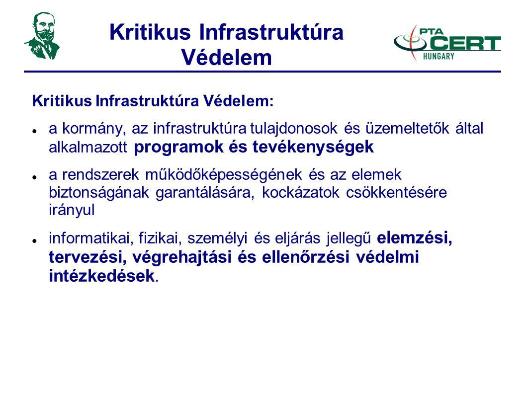 Kritikus Infrastruktúra Védelem Kritikus Infrastruktúra Védelem:  a kormány, az infrastruktúra tulajdonosok és üzemeltetők által alkalmazott programok és tevékenységek  a rendszerek működőképességének és az elemek biztonságának garantálására, kockázatok csökkentésére irányul  informatikai, fizikai, személyi és eljárás jellegű elemzési, tervezési, végrehajtási és ellenőrzési védelmi intézkedések.