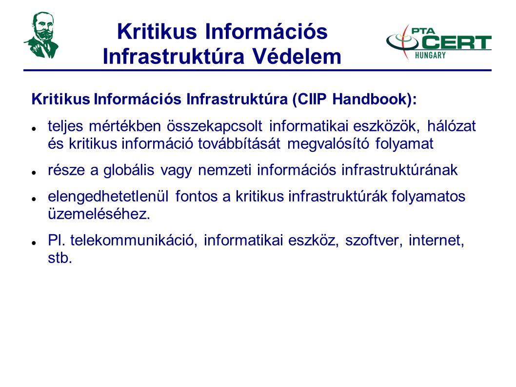 Kritikus Információs Infrastruktúra Védelem Kritikus Információs Infrastruktúra (CIIP Handbook):  teljes mértékben összekapcsolt informatikai eszközök, hálózat és kritikus információ továbbítását megvalósító folyamat  része a globális vagy nemzeti információs infrastruktúrának  elengedhetetlenül fontos a kritikus infrastruktúrák folyamatos üzemeléséhez.