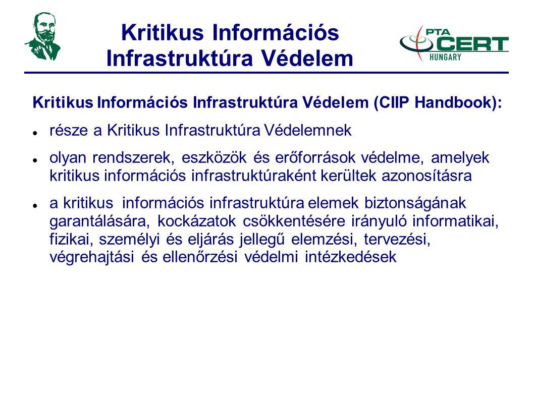 Kritikus Információs Infrastruktúra Védelem Kritikus Információs Infrastruktúra Védelem (CIIP Handbook):  része a Kritikus Infrastruktúra Védelemnek  olyan rendszerek, eszközök és erőforrások védelme, amelyek kritikus információs infrastruktúraként kerültek azonosításra  a kritikus információs infrastruktúra elemek biztonságának garantálására, kockázatok csökkentésére irányuló informatikai, fizikai, személyi és eljárás jellegű elemzési, tervezési, végrehajtási és ellenőrzési védelmi intézkedések