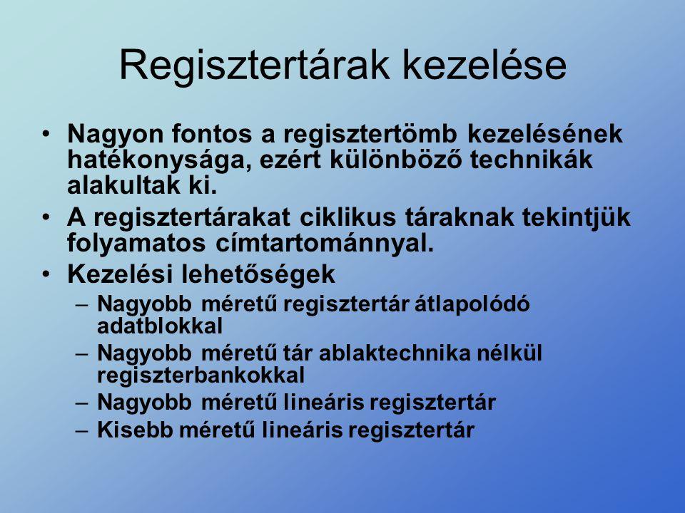 Regisztertárak kezelése •Nagyon fontos a regisztertömb kezelésének hatékonysága, ezért különböző technikák alakultak ki. •A regisztertárakat ciklikus