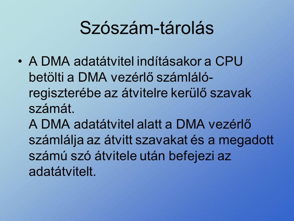 Szószám-tárolás •A DMA adatátvitel indításakor a CPU betölti a DMA vezérlő számláló- regiszterébe az átvitelre kerülő szavak számát. A DMA adatátvitel
