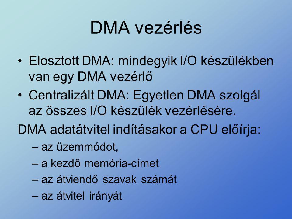 DMA vezérlés •Elosztott DMA: mindegyik I/O készülékben van egy DMA vezérlő •Centralizált DMA: Egyetlen DMA szolgál az összes I/O készülék vezérlésére.