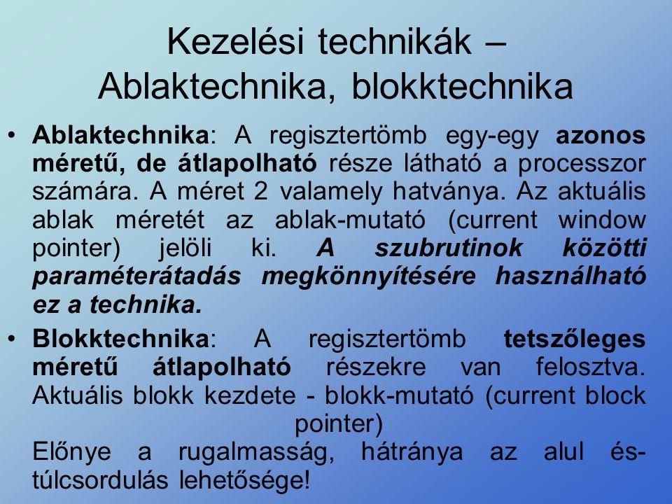 Kezelési technikák – Ablaktechnika, blokktechnika •Ablaktechnika: A regisztertömb egy-egy azonos méretű, de átlapolható része látható a processzor szá