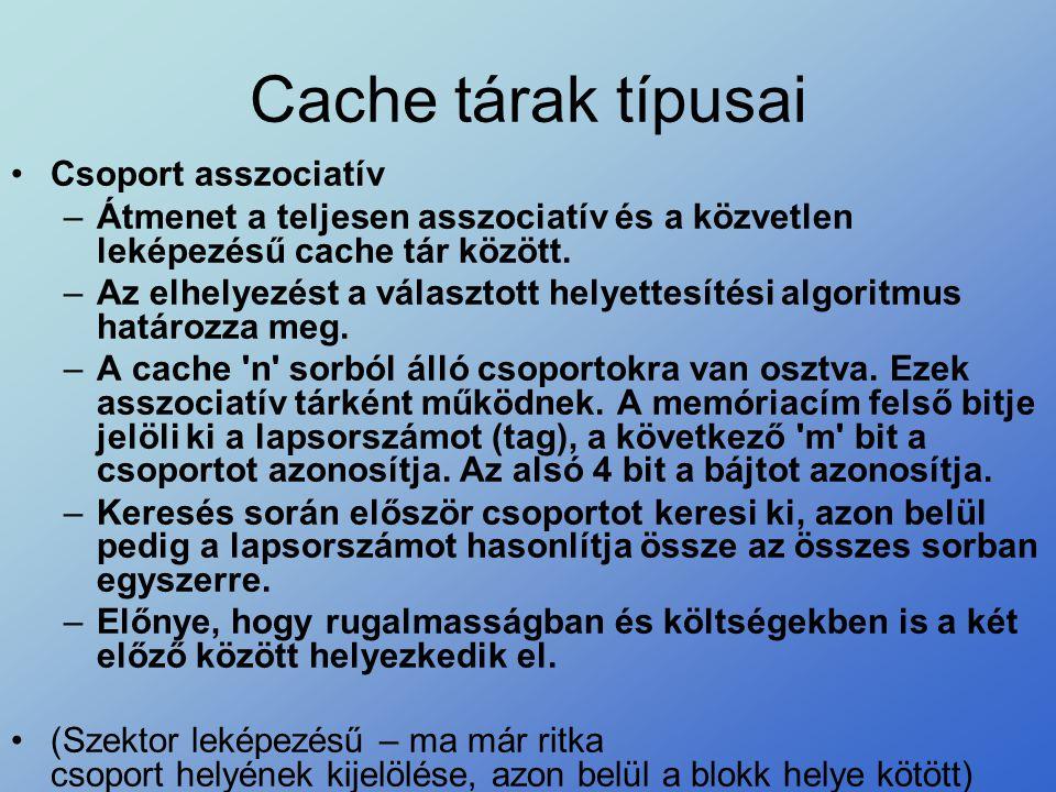 Cache tárak típusai •Csoport asszociatív –Átmenet a teljesen asszociatív és a közvetlen leképezésű cache tár között. –Az elhelyezést a választott hely
