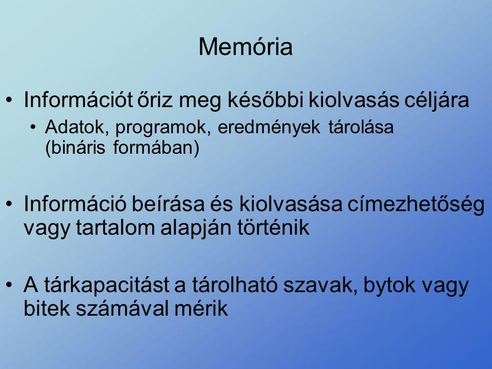Memória •Információt őriz meg későbbi kiolvasás céljára •Adatok, programok, eredmények tárolása (bináris formában) •Információ beírása és kiolvasása c