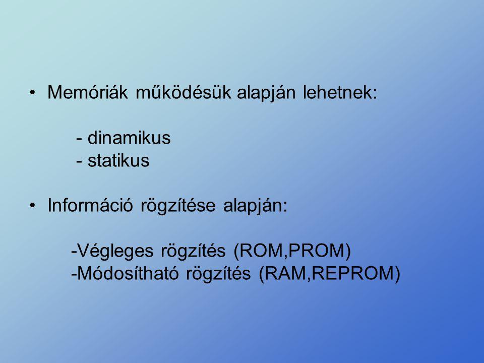 •Memóriák működésük alapján lehetnek: - dinamikus - statikus •Információ rögzítése alapján: -Végleges rögzítés (ROM,PROM) -Módosítható rögzítés (RAM,R