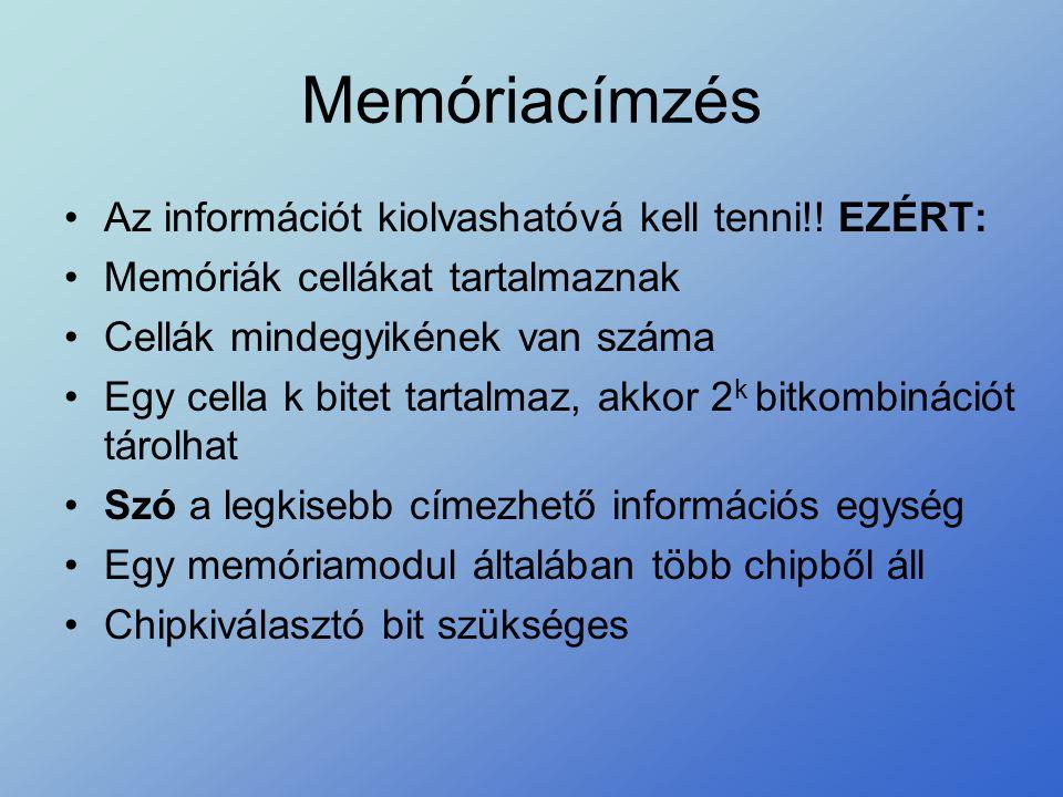Memóriacímzés •Az információt kiolvashatóvá kell tenni!! EZÉRT: •Memóriák cellákat tartalmaznak •Cellák mindegyikének van száma •Egy cella k bitet tar