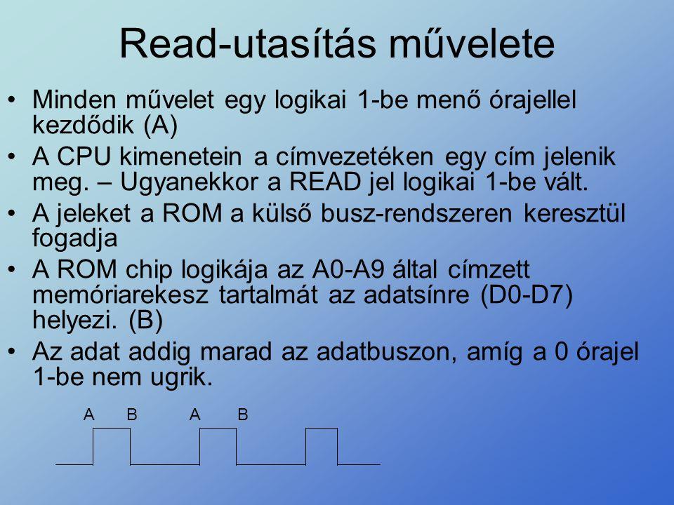 Read-utasítás művelete •Minden művelet egy logikai 1-be menő órajellel kezdődik (A) •A CPU kimenetein a címvezetéken egy cím jelenik meg. – Ugyanekkor