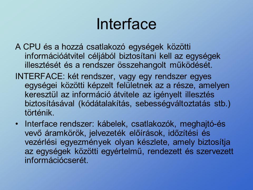 Interface A CPU és a hozzá csatlakozó egységek közötti információátvitel céljából biztosítani kell az egységek illesztését és a rendszer összehangolt