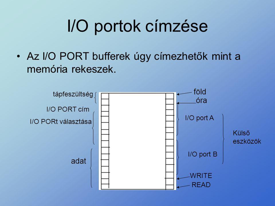 I/O portok címzése •Az I/O PORT bufferek úgy címezhetők mint a memória rekeszek. föld óra I/O port A I/O port B Külső eszközök WRITE READ adat I/O POR