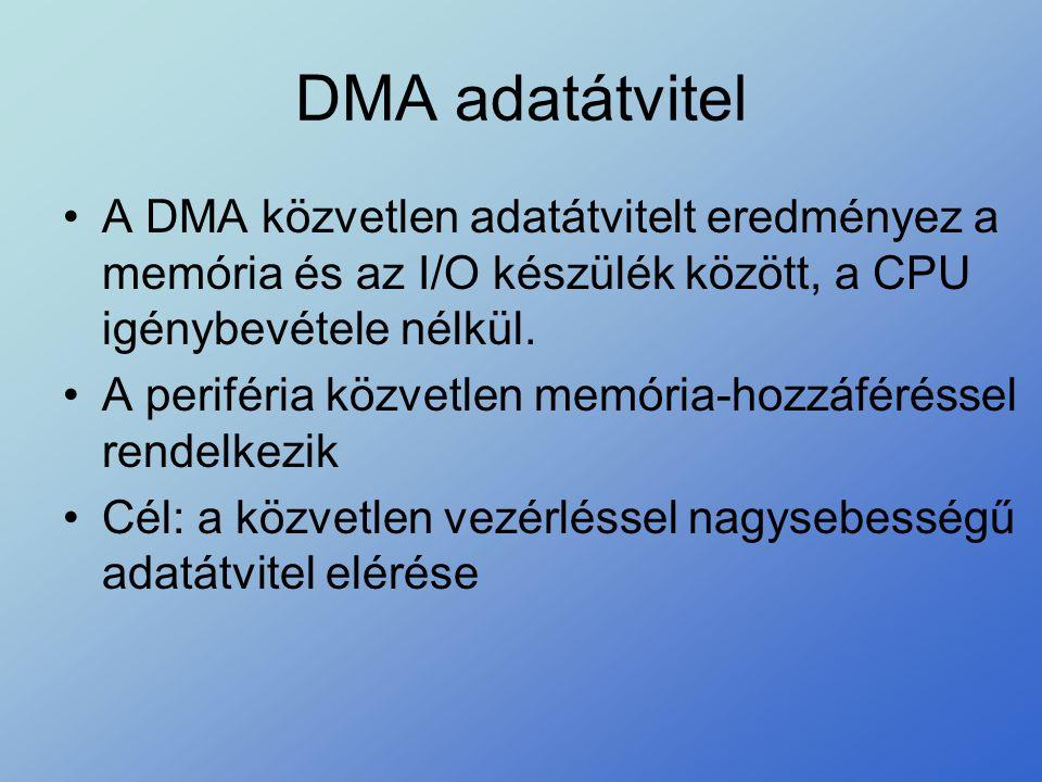 DMA adatátvitel •A DMA közvetlen adatátvitelt eredményez a memória és az I/O készülék között, a CPU igénybevétele nélkül. •A periféria közvetlen memór