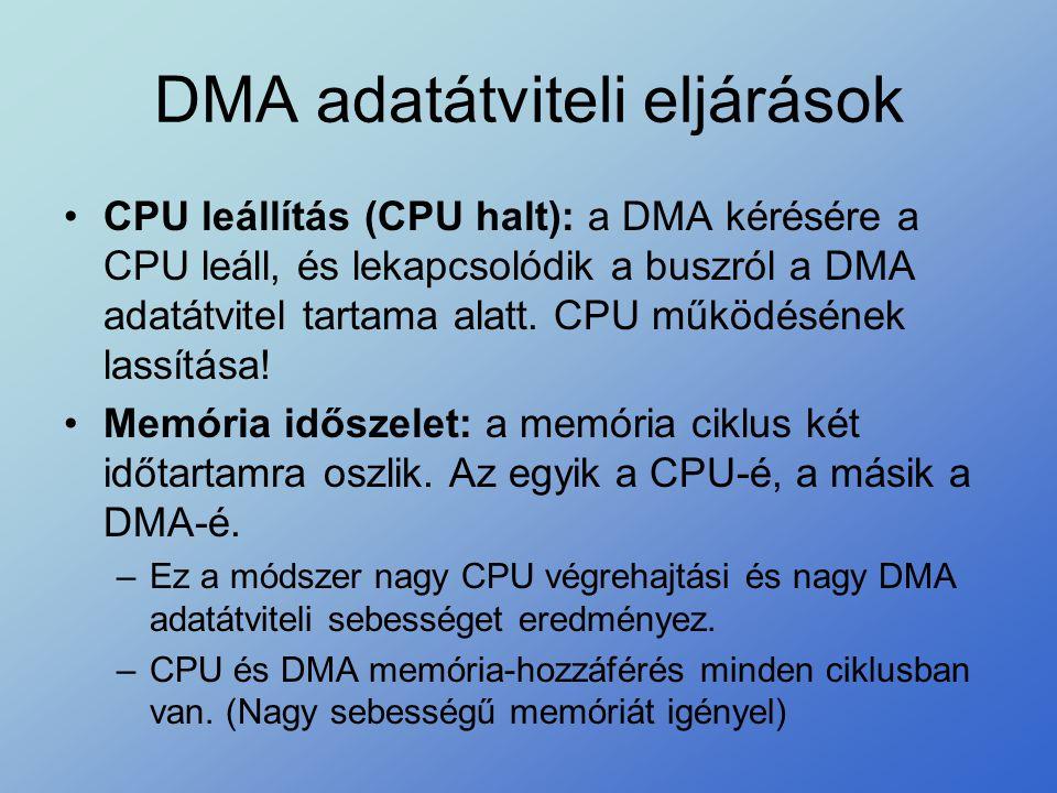DMA adatátviteli eljárások •CPU leállítás (CPU halt): a DMA kérésére a CPU leáll, és lekapcsolódik a buszról a DMA adatátvitel tartama alatt. CPU műkö