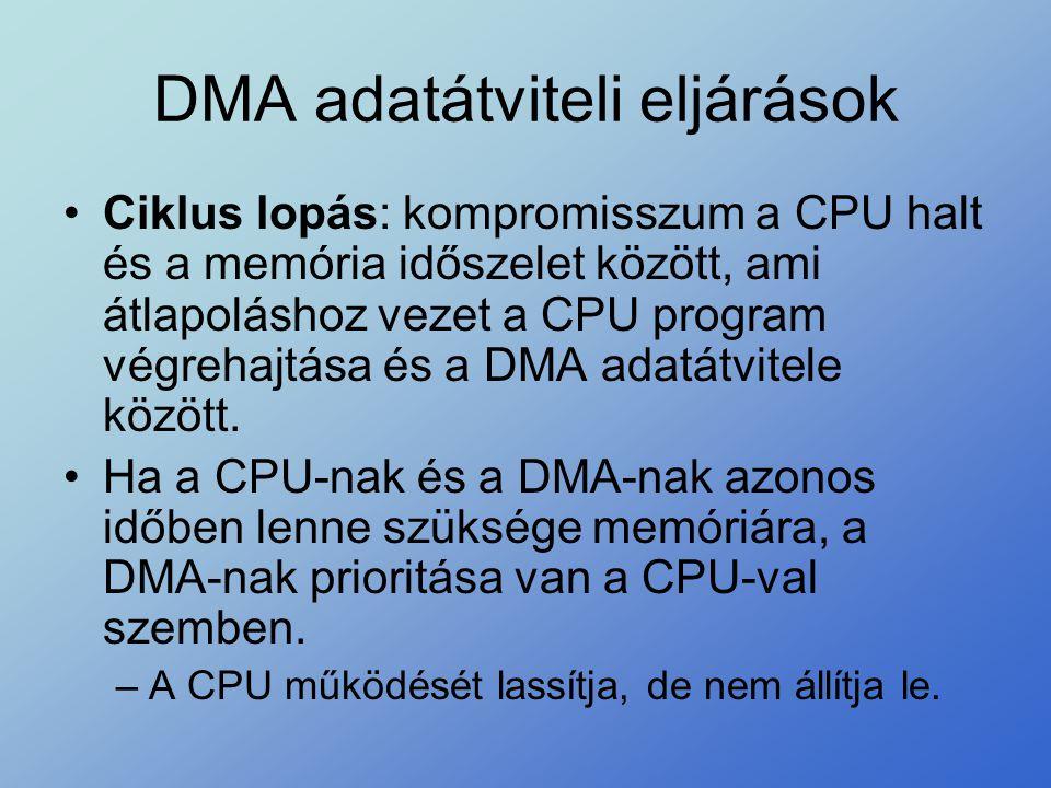 •Ciklus lopás: kompromisszum a CPU halt és a memória időszelet között, ami átlapoláshoz vezet a CPU program végrehajtása és a DMA adatátvitele között.