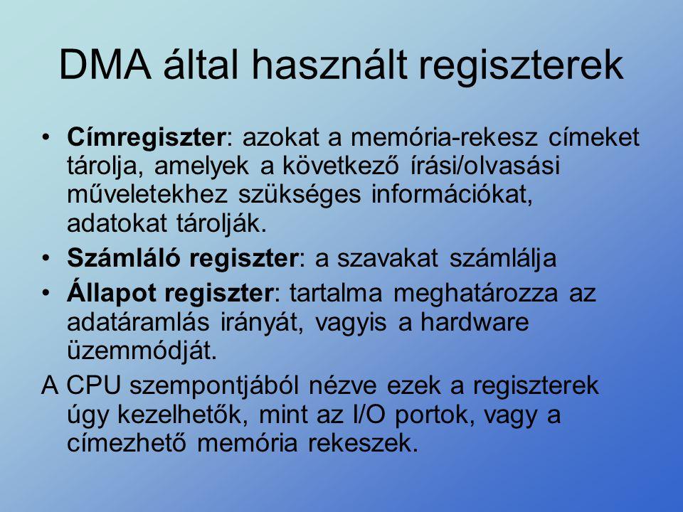 DMA által használt regiszterek •Címregiszter: azokat a memória-rekesz címeket tárolja, amelyek a következő írási/olvasási műveletekhez szükséges infor