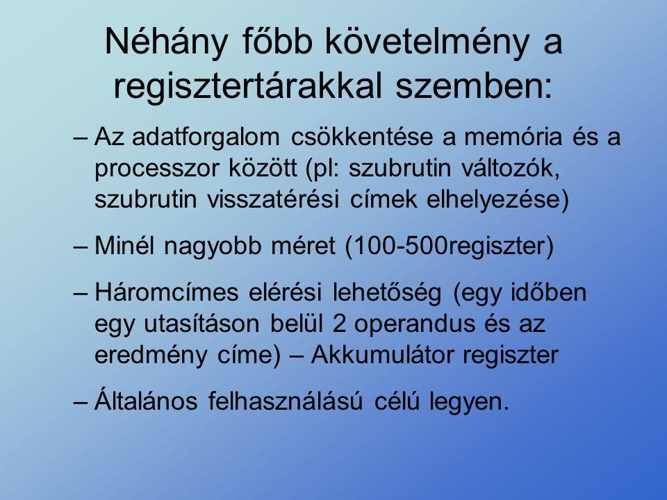 Néhány főbb követelmény a regisztertárakkal szemben: –Az adatforgalom csökkentése a memória és a processzor között (pl: szubrutin változók, szubrutin