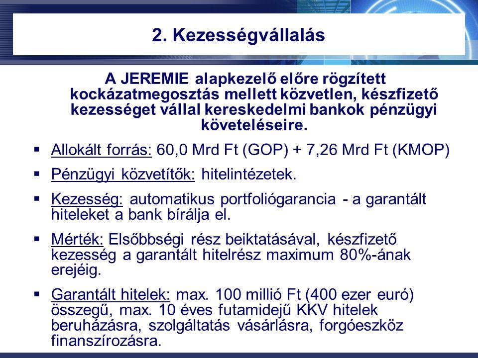 2. Kezességvállalás A JEREMIE alapkezelő előre rögzített kockázatmegosztás mellett közvetlen, készfizető kezességet vállal kereskedelmi bankok pénzügy