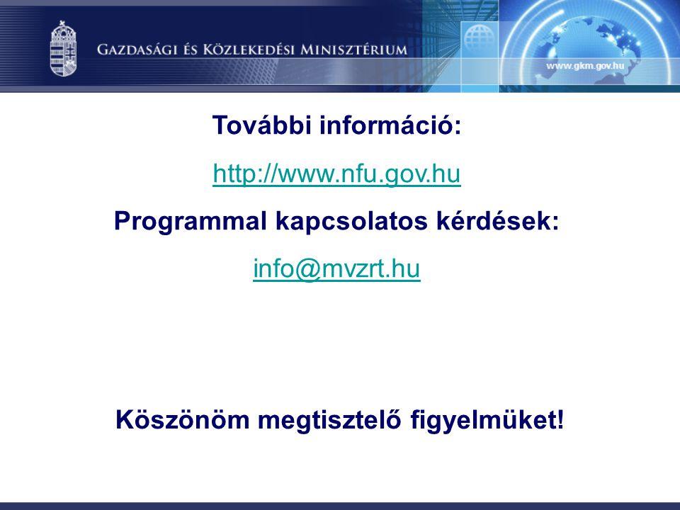 Köszönöm megtisztelő figyelmüket! További információ: http://www.nfu.gov.hu Programmal kapcsolatos kérdések: info@mvzrt.hu