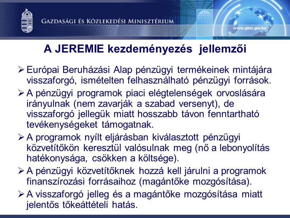 A JEREMIE kezdeményezés jellemzői  Európai Beruházási Alap pénzügyi termékeinek mintájára visszaforgó, ismételten felhasználható pénzügyi források. 