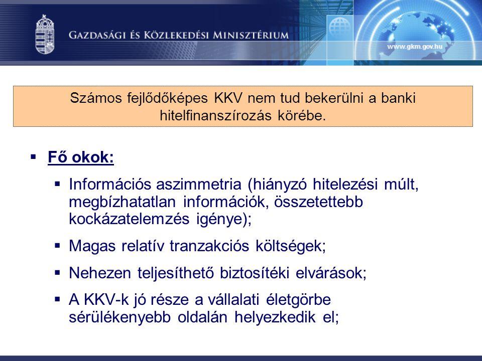  Fő okok:  Információs aszimmetria (hiányzó hitelezési múlt, megbízhatatlan információk, összetettebb kockázatelemzés igénye);  Magas relatív tranz