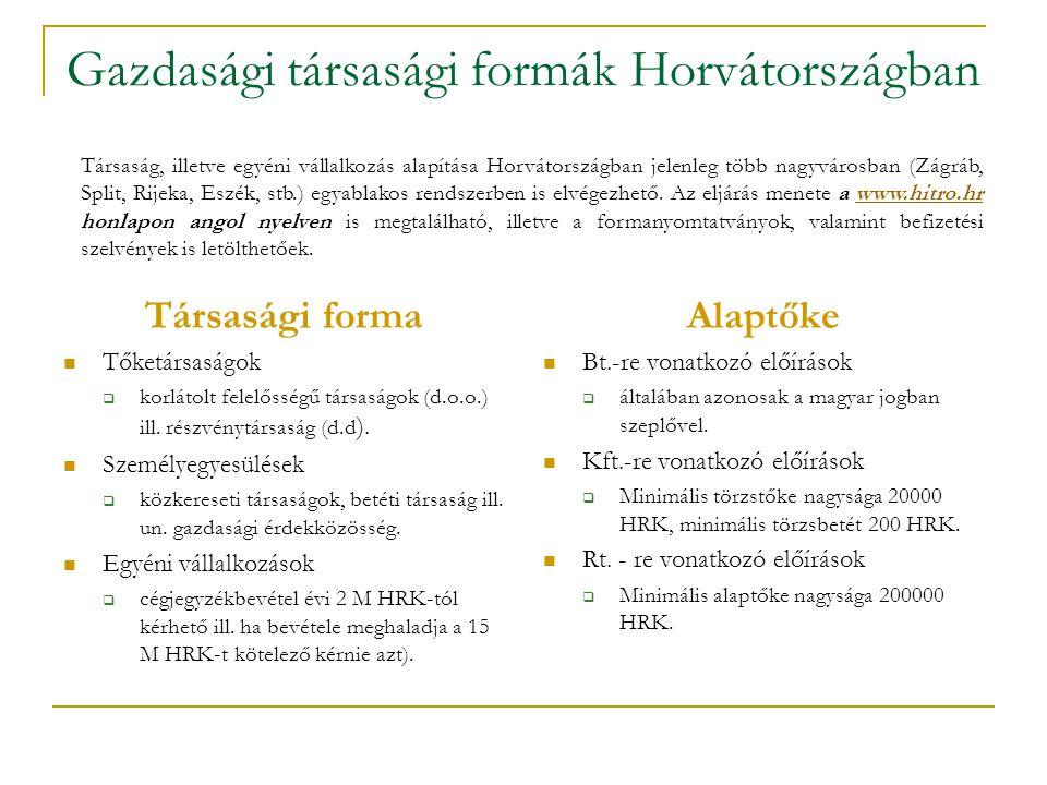 Gazdasági társasági formák Horvátországban Társasági forma  Tőketársaságok  korlátolt felelősségű társaságok (d.o.o.) ill.