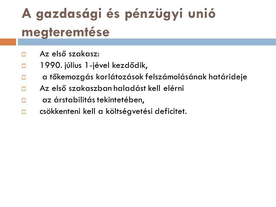 A gazdasági és pénzügyi unió megteremtése  Az első szakasz:  1990. július 1-jével kezdődik,  a tőkemozgás korlátozások felszámolásának határideje 