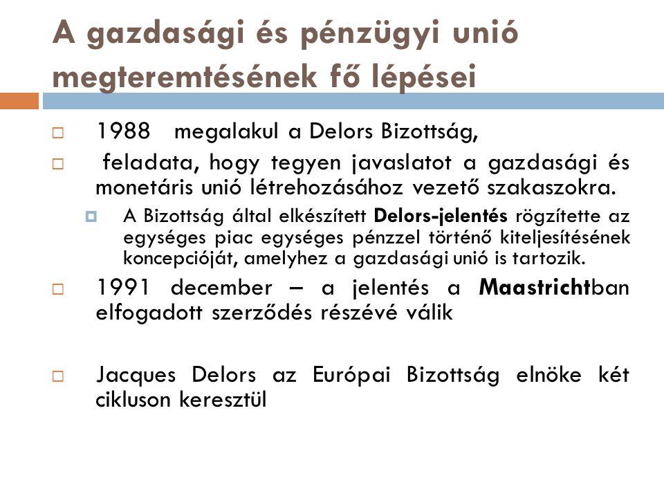 A gazdasági és pénzügyi unió megteremtésének fő lépései  1988 megalakul a Delors Bizottság,  feladata, hogy tegyen javaslatot a gazdasági és monetár