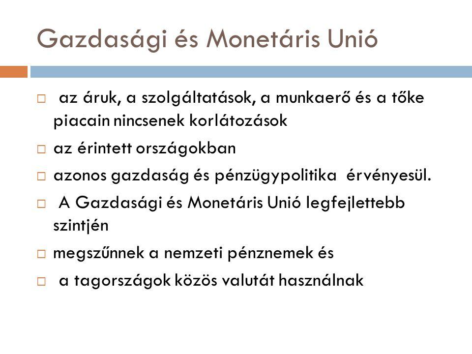 Gazdasági és Monetáris Unió  az áruk, a szolgáltatások, a munkaerő és a tőke piacain nincsenek korlátozások  az érintett országokban  azonos gazdas