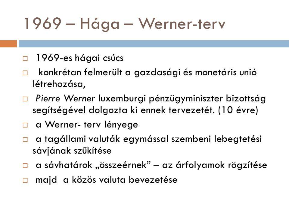 1969 – Hága – Werner-terv  1969-es hágai csúcs  konkrétan felmerült a gazdasági és monetáris unió létrehozása,  Pierre Werner luxemburgi pénzügymin