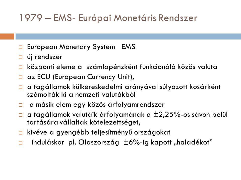 1979 – EMS- Európai Monetáris Rendszer  European Monetary System EMS  új rendszer  központi eleme a számlapénzként funkcionáló közös valuta  az EC