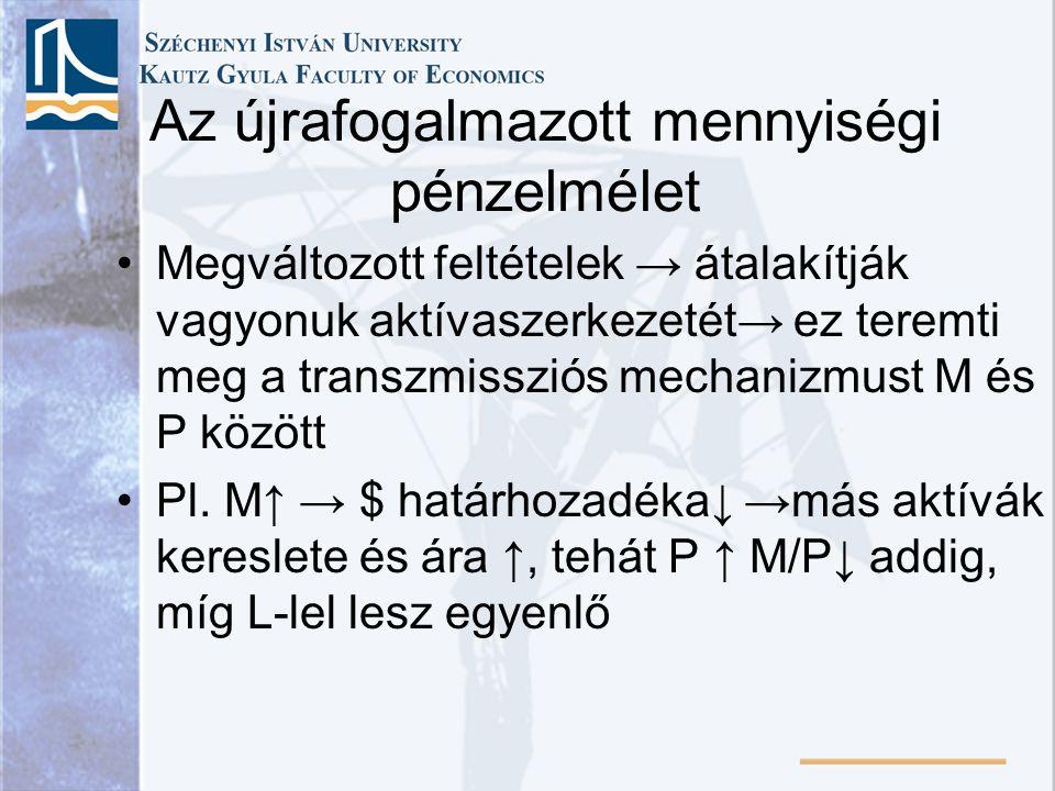 Az újrafogalmazott mennyiségi pénzelmélet •Megváltozott feltételek → átalakítják vagyonuk aktívaszerkezetét→ ez teremti meg a transzmissziós mechanizmust M és P között •Pl.