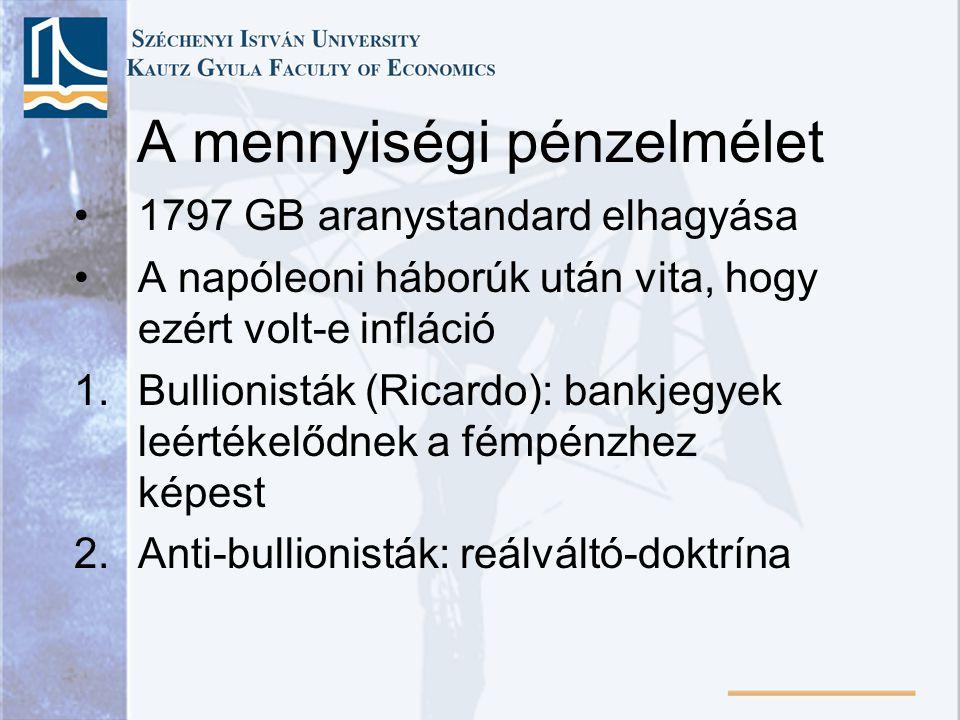 Következtetések és a keynesi rendszerhez való viszonya •A diszkrecionális intézkedés többet árt, mint használ •Stabil, kiszámítható pénzpolitika: M évről évre történő azonos arányban történő bővítése a reáltermelés hosszú távú rátájának megfelelően → stabil P