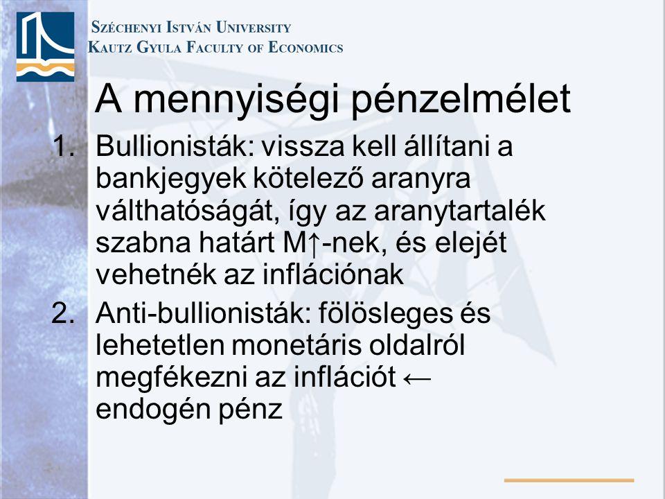 A mennyiségi pénzelmélet 1.Bullionisták: vissza kell állítani a bankjegyek kötelező aranyra válthatóságát, így az aranytartalék szabna határt M↑-nek, és elejét vehetnék az inflációnak 2.Anti-bullionisták: fölösleges és lehetetlen monetáris oldalról megfékezni az inflációt ← endogén pénz
