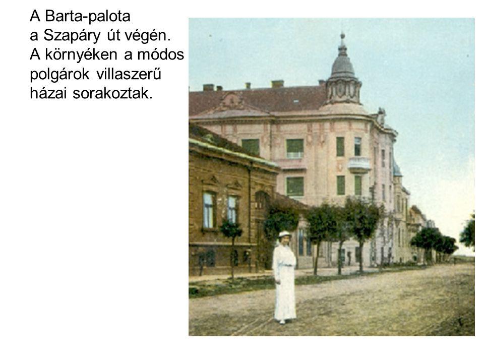 A Barta-palota a Szapáry út végén. A környéken a módos polgárok villaszerű házai sorakoztak.