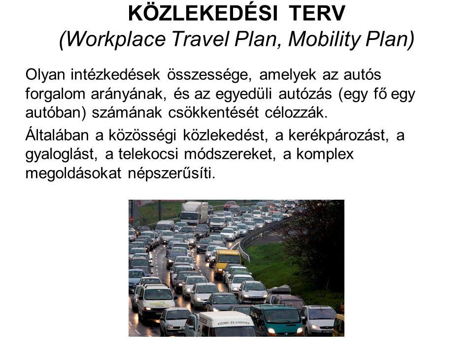 KÖZLEKEDÉSI TERV (Workplace Travel Plan, Mobility Plan) Olyan intézkedések összessége, amelyek az autós forgalom arányának, és az egyedüli autózás (egy fő egy autóban) számának csökkentését célozzák.
