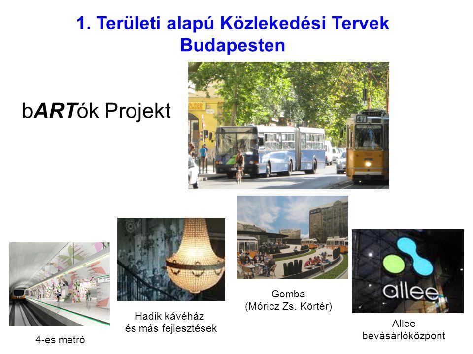 1. Területi alapú Közlekedési Tervek Budapesten bARTók Projekt 4-es metró Hadik kávéház és más fejlesztések Gomba (Móricz Zs. Körtér) Allee bevásárlók