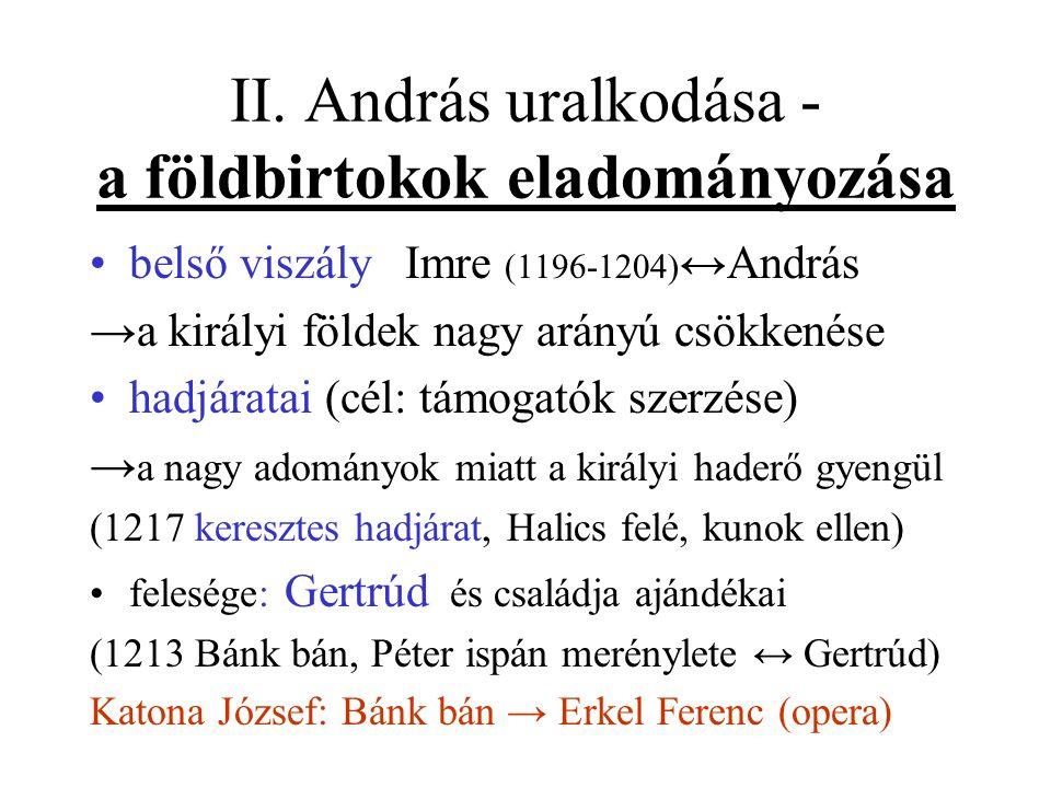 II. András uralkodása - a földbirtokok eladományozása •belső viszály Imre (1196-1204) ↔András →a királyi földek nagy arányú csökkenése •hadjáratai (cé