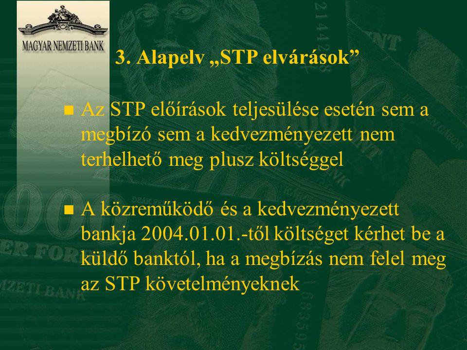 """3. Alapelv """"STP elvárások"""" n Az STP előírások teljesülése esetén sem a megbízó sem a kedvezményezett nem terhelhető meg plusz költséggel n A közreműkö"""