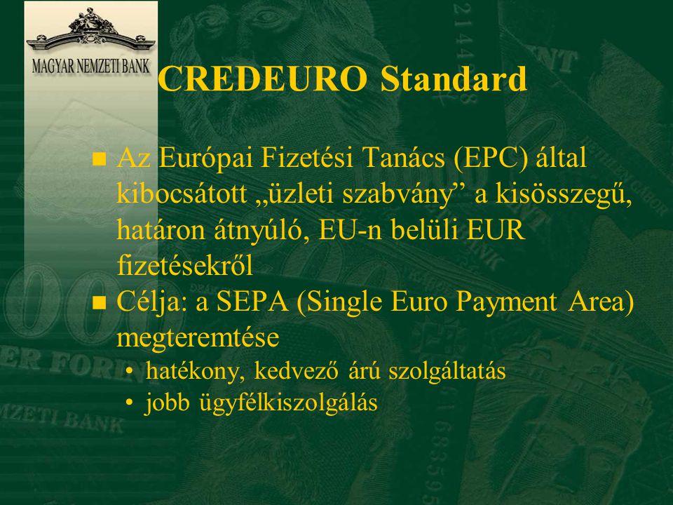 """CREDEURO Standard n Az Európai Fizetési Tanács (EPC) által kibocsátott """"üzleti szabvány a kisösszegű, határon átnyúló, EU-n belüli EUR fizetésekről n Célja: a SEPA (Single Euro Payment Area) megteremtése •hatékony, kedvező árú szolgáltatás •jobb ügyfélkiszolgálás"""